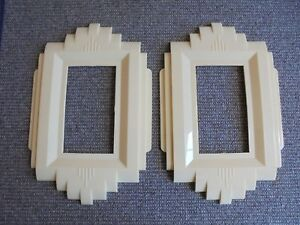 2 Vintage Art Deco Wall Plates Gits Molding Co Protect O Shield Ivory Unused