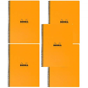 Rhodia 4 Color Book Lined W margin 80 Sheets 9 X 11 3 4 Orange Cover Pack