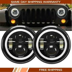 2pcs 7 Led Halo Angel Eyes Headlight 60w Headlamp Fit Jeep Wrangler Jk Tj Cj5 7