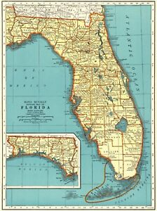 1943 Antique Florida Map Vintage State Map Of Florida Gallery Wall Art 6307