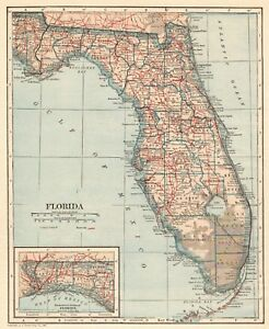1921 Antique Florida Map Vintage State Map Of Florida Gallery Wall Art 6318