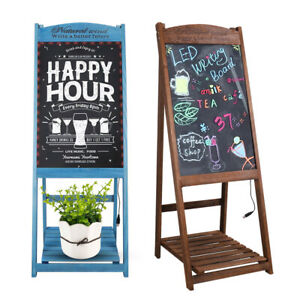 Sidewalk Sign Led Menu Message Writing Sandwich Board Wood Frame Glass Board