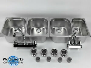 Concession Sink 4 Compartment Portable Food Truck Trailer 3l 1s Handwash Faucets