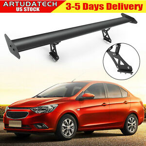 53 135cm Universal Adjust Gt Rear Trunk Wing Racing Spoiler No Drilling Black