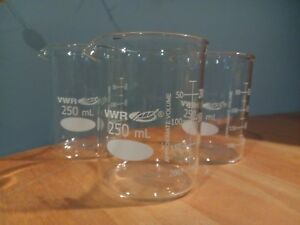 Vwr Glass 250ml Dual Scale Low Form Griffin Beakers 12 Pack Brand New