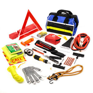 97 Pc Roadside Assistance Auto Emergency First Aid Kit Tool Cables Tire Repair