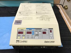 Conmed Sabre 2400 Electrosurgical Unit W Monopolar And Bipolar Footwitches