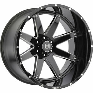 20x12 Black Milled Hostile Alpha 6x5 5 44 Rims Open Country Mt 35 Tires