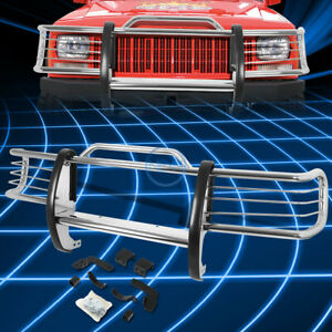 For 84 01 Jeep Cherokee Xj Suv Chrome Brush Front Bumper Protector Grille Guard