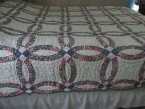 Vtg Antique Double Wedding Ring Quilt 87 X 96 Shabby Blue And Pink