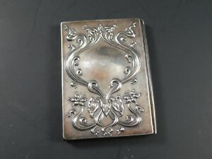 Antique Victorian Art Nouveau Sterling Silver Hinged Card Case Or Similar Case
