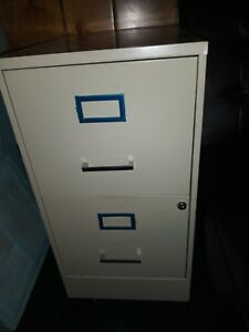 2 drawer Durable Steel File Cabinet Locking Drawer Cream W Blue Trim No Key