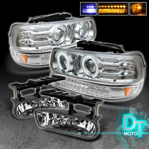 99 02 Silverado 00 06 Suburban Tahoe Projector Headlights led Bumper fog Lights