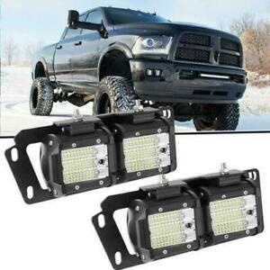 For 2010 2018 Dodge Ram 2500 3500 4 324w Led Pods Fog Light Lamp Mounts Set