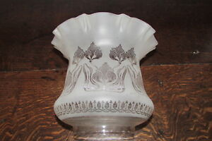 Arts Crafts Art Nouveau Frosted Etched Glass Tulip Shape Large Oil Lamp Shade