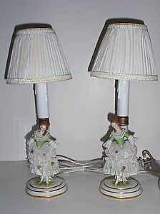 Antique True Pair Marked Muller Volkstedt Dresden Lace Figural Porcelain Lamps