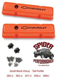 Chevy 283 327 305 350 400 Small Block Tall Valve Cover Kit Bowtie Orange Steel