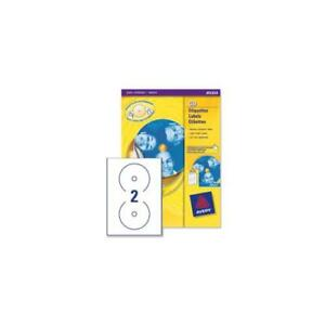 J8676 100 Avery Cd dvd Labels Inkjet 2 Per Sheet Dia 117mm Quickdry 200 Labels