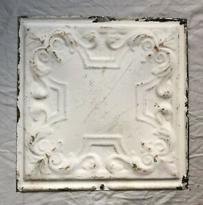 1890 S 12 X 12 Antique Tin Ceiling Tile White Metal Reclaimed Anniversary 51 19