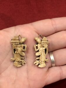 Antique C 1900 Carved Japanese Or Chinese Figural Tobacco Pouch Ornament
