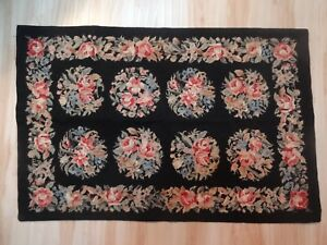Vintage Wool Needlepoint Rug Approx 3 X 2 Pink Floral Black Ground Ex Cond
