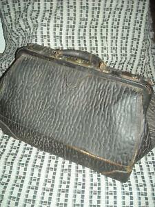 Vtg 20s Black Seal Leather Frame Doctors Medical Overnight Bag Satchel