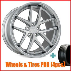 4pcs 19 Staggered Rohana Rc9 Machined Silver Wheels And Tires