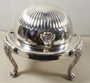 F B Rogers Bros Silver Co 273 Lion Footed Dome Butter Sugar Dish Silver Plated