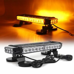 30w 15 Led Warn Emergency Beacon Double Side Mini Strobe Light Bar Amber Yellow