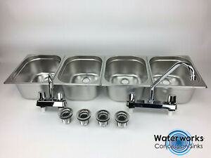 Concession Sink 4 Compartment Portable Food Truck Trailer 4 Large W faucets