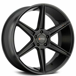 20 Staggered Kmc Km711 Prism Black Wheels And Tires