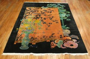 Antique Chinese Art Deco Rug Size 8 8 X11 4