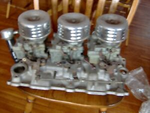 Edelbrock C357b Small Block Chevy Sbc Tri Power Intake Manifold With Carburetors