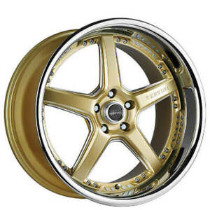 4rims 20 Staggered Vertini Wheels Drift Gold With Chrome Ss Lip Rims Fs