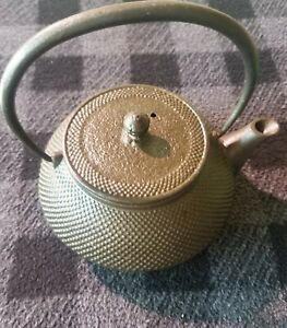 Antique Japanese Tetsubin Tea Kettle Teapot Cast Iron Rare Hobnail Teapot Old