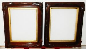 Pair Of Antique Walnut Wooden Picture Frames With Carved Leaves