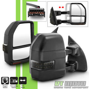 Pair 1999 2007 Ford F250 F350 F450 Superduty Manual Towing Mirrors W Led Signal