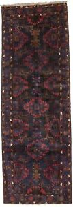 Great Tribal Vintage Hossainabad Runner Persian Rug Oriental Area Carpet 3 5x10