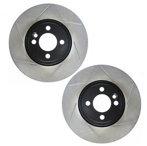 Pair Set Of 2 Front Stoptech Slot Disc Jcw Brake Rotors For Mini Cooper 07 13