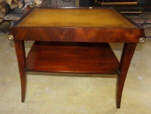 Antique Stickley Empire Style Mahogany With Leather Top End Lamp Table 1 Of 2