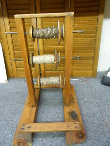Antique Primitive Wooden Spool Yarn Skein Winder Stand Lazy Kate