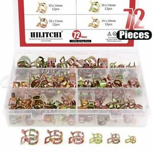 Hose Clamp Assortment Kit Steel Spring Clip Water Fuel Tube Pipe 72pcs New