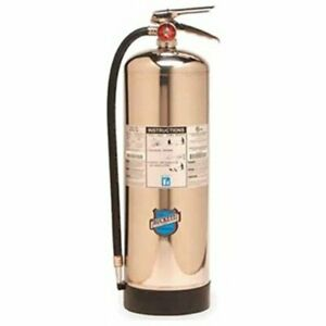 Stainless Steel Water Pressurized Fire Extinguisher W Wall Hook 2 5gal