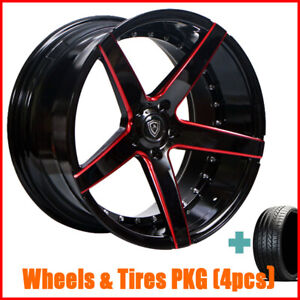 4rims 20 Staggered Or Non Staggered Marquee 3226 Black Red Wheels And Tires