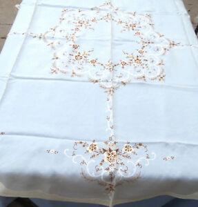 Antique Chinese Silk Hand Embroidered Floral Tablecloth 67 Round New