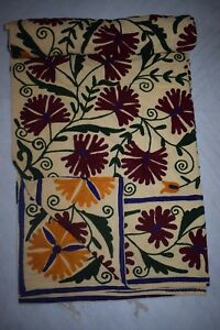 Uzbek Cotton Suzani Hand Embroidered Indian Queen Bed Sheet Cover Bedspread