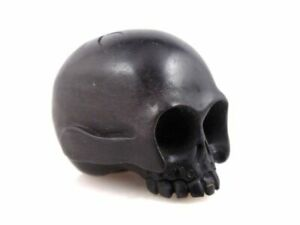Ebony Ironwood Hand Carved Japanese Netsuke Human Skull Bone Skeleton 02111901
