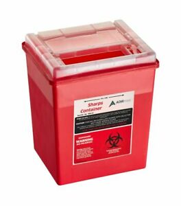 Adirmed Sharps Container Biohazard Needle Disposal Flip open Lid 8 Qt 2 Gallon