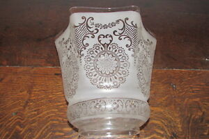Arts Crafts Art Nouveau Etched Large Glass Tulip Shape Duplex 4 Oil Lamp Shade