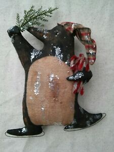 Made To Order Primitive Folk Art Ice Skating Penguin Christmas Winter Doll